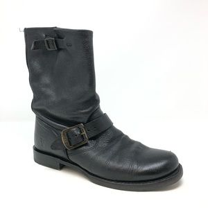 Frye Boots Black Leather Pull on Size 8.5 B